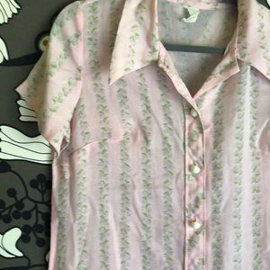 Vintage pink floral shirt nighty